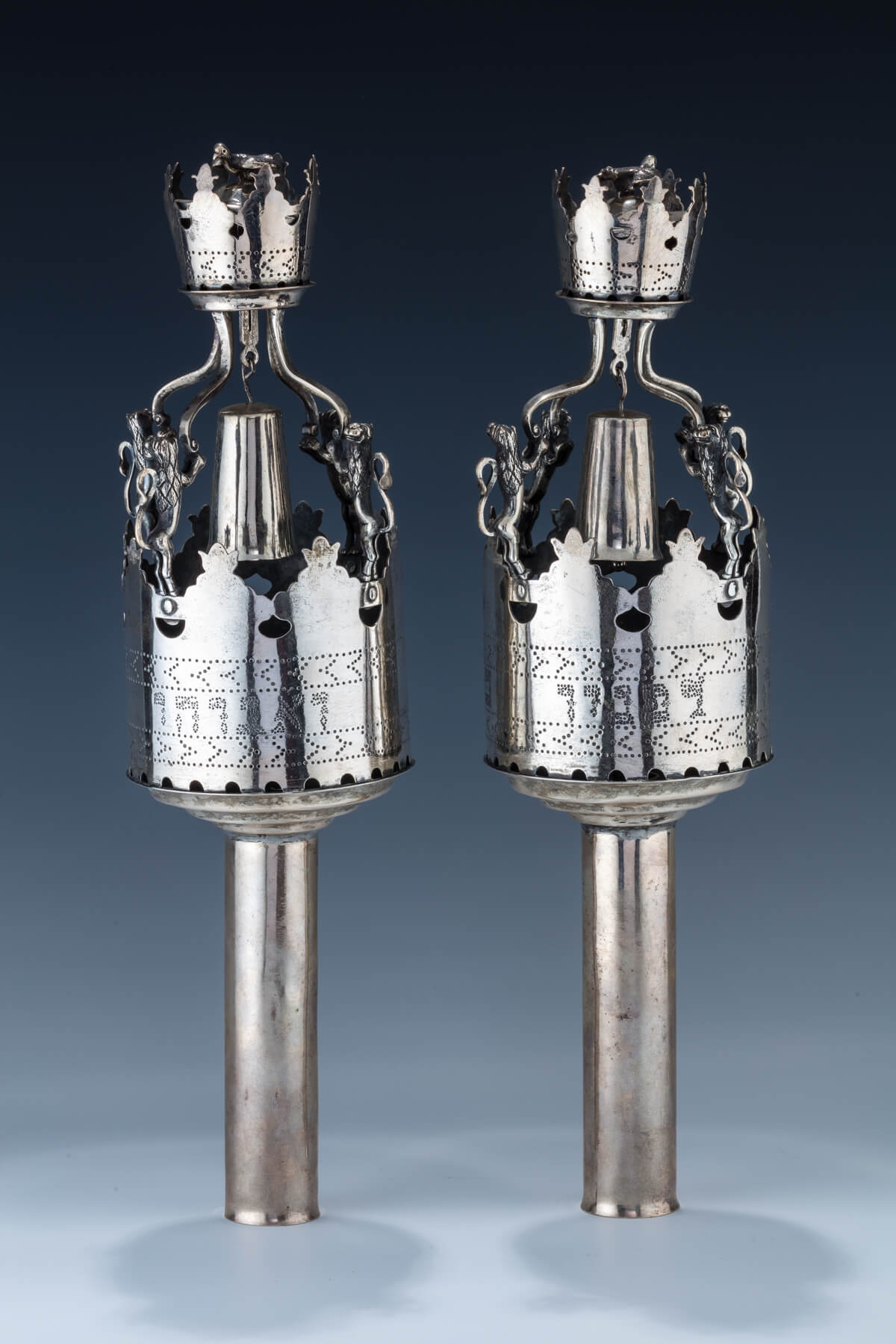 27. A Pair Of Large Silver Torah Finials