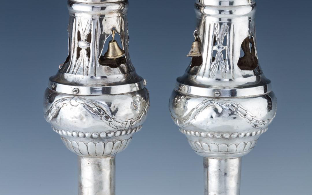68. A Pair Of Silver Torah Finials By Johann Freidrich Ehe (1735 – 1808)