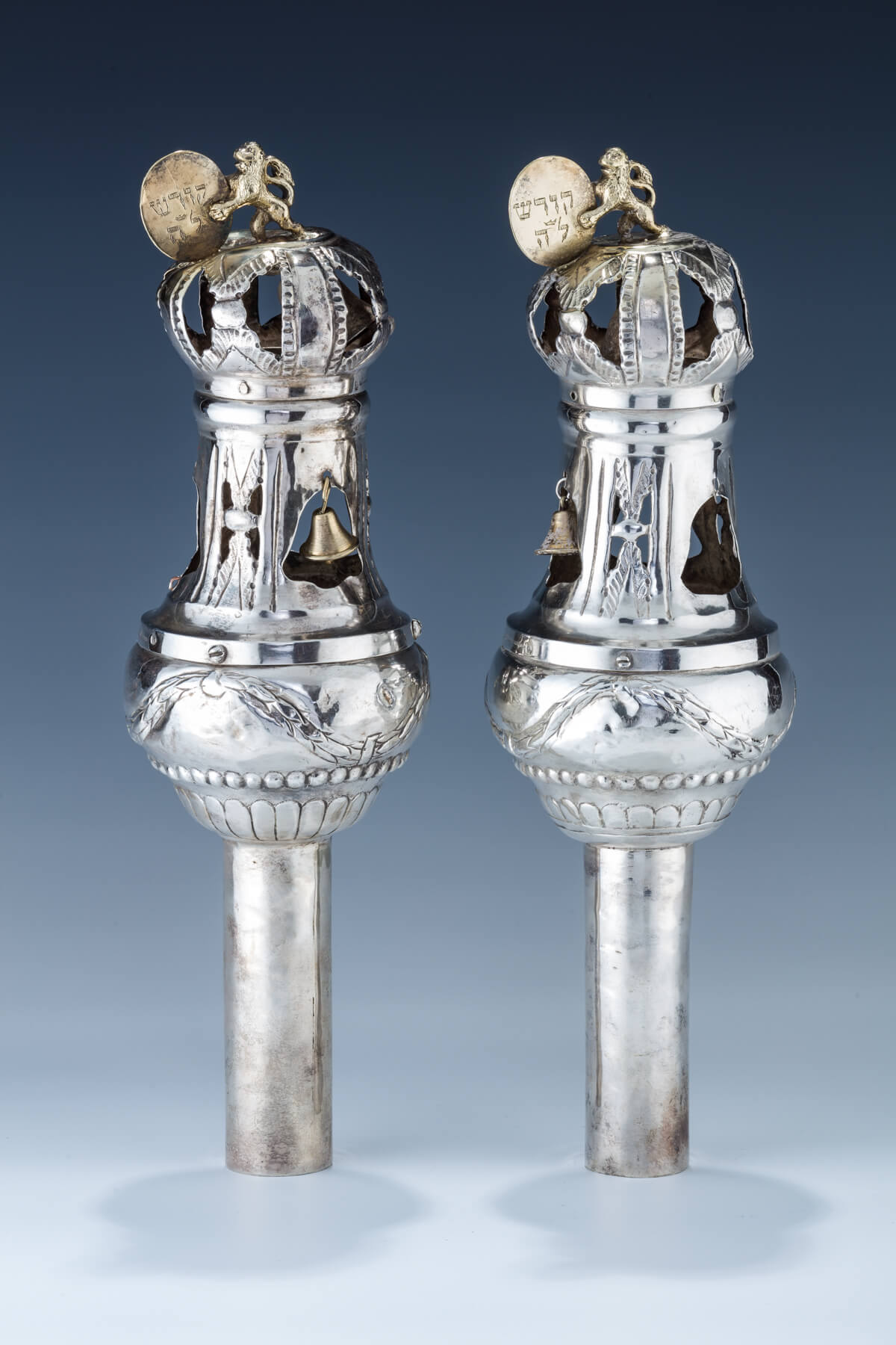 68. A Pair Of Silver Torah Finials By Johann Freidrich Ehe (1735 – 1808)