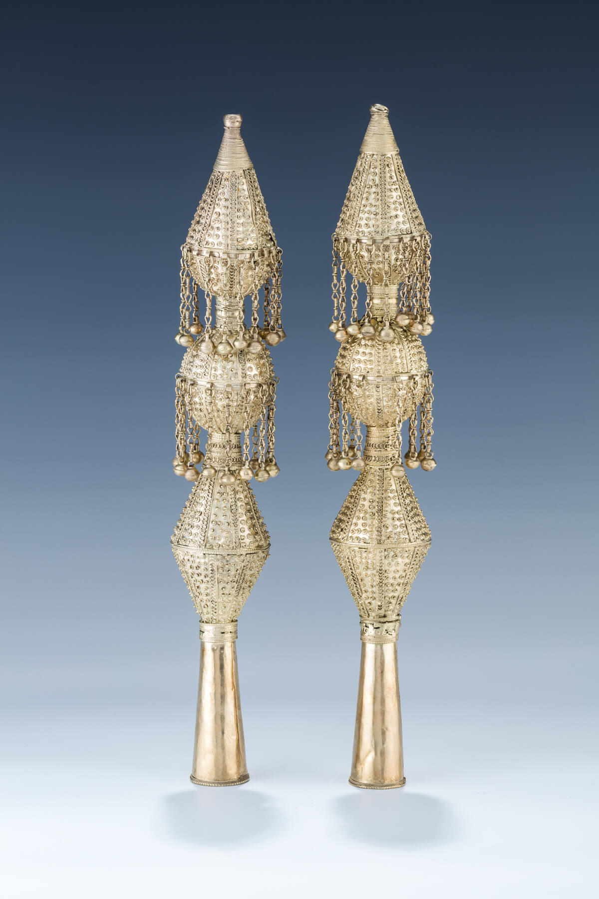54. A Pair Of Large Gilded Silver Torah Finials