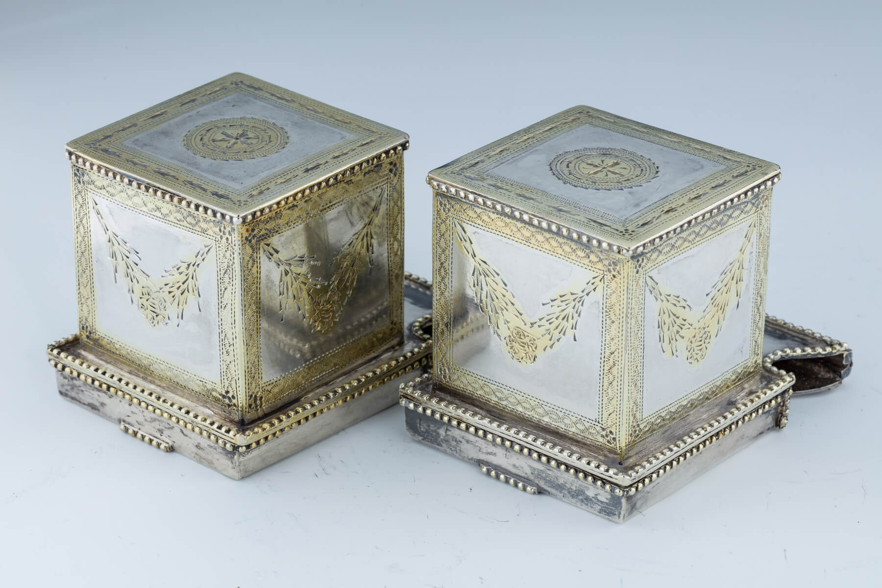 46. A Pair Of Silver Tefillin Cases