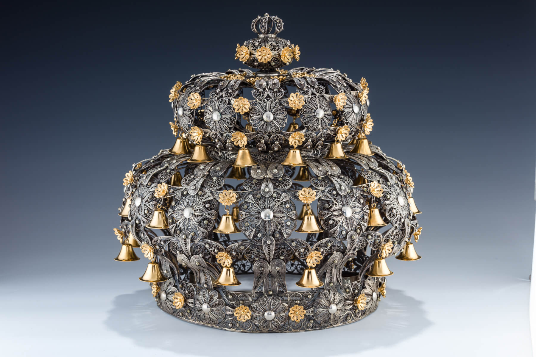 114. A Massive Sterling Silver Torah Crown By Shuki Freiman