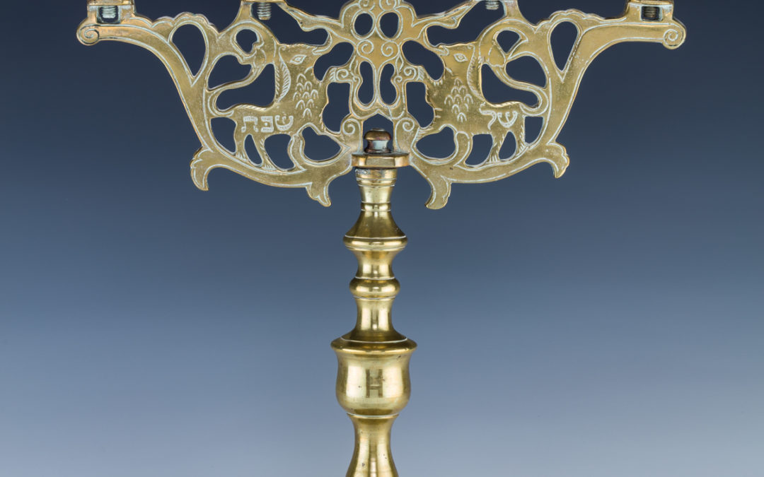 58. A Large Brass Sabbath Candelabra