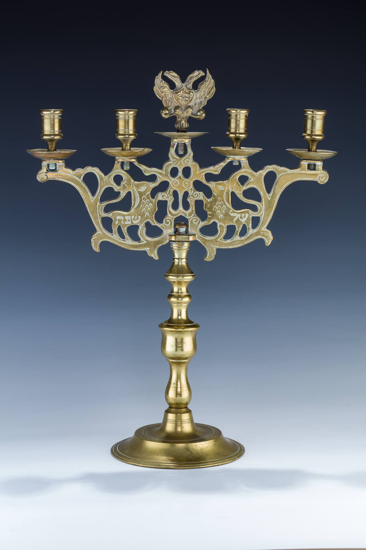 58. A Large Brass Sabbath Candelabra