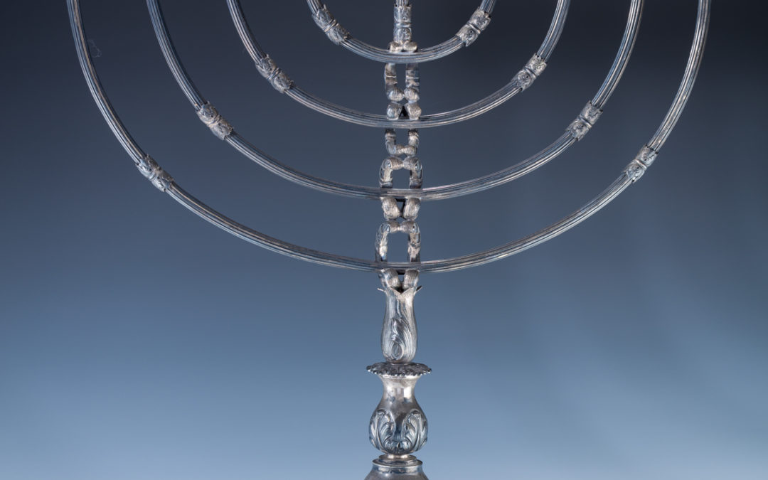 118. A Monumental Sterling Silver Menorah By Michael Strauss Silversmiths