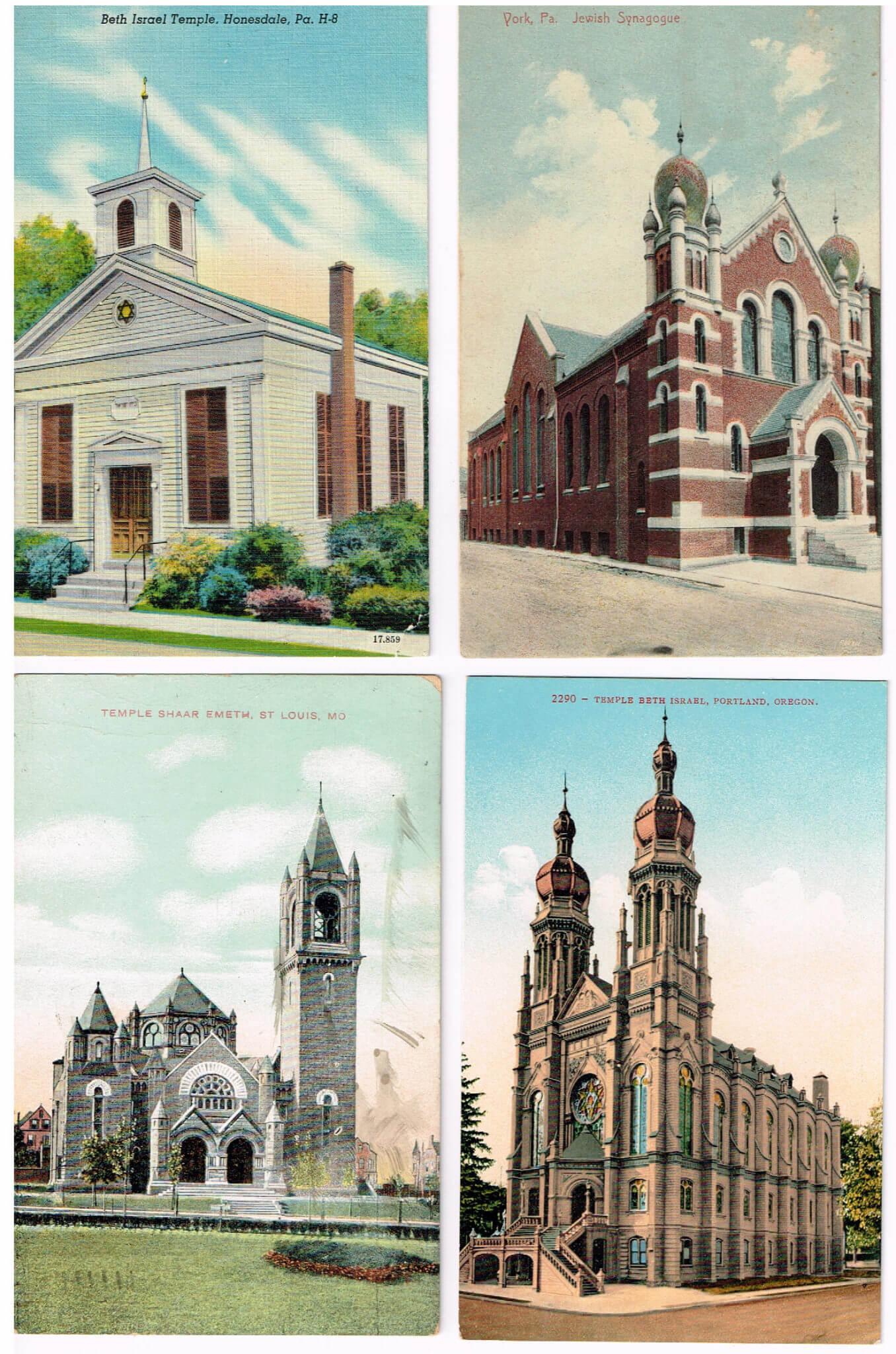 135. A Large Collection Of 72 American Synagogue Postcards