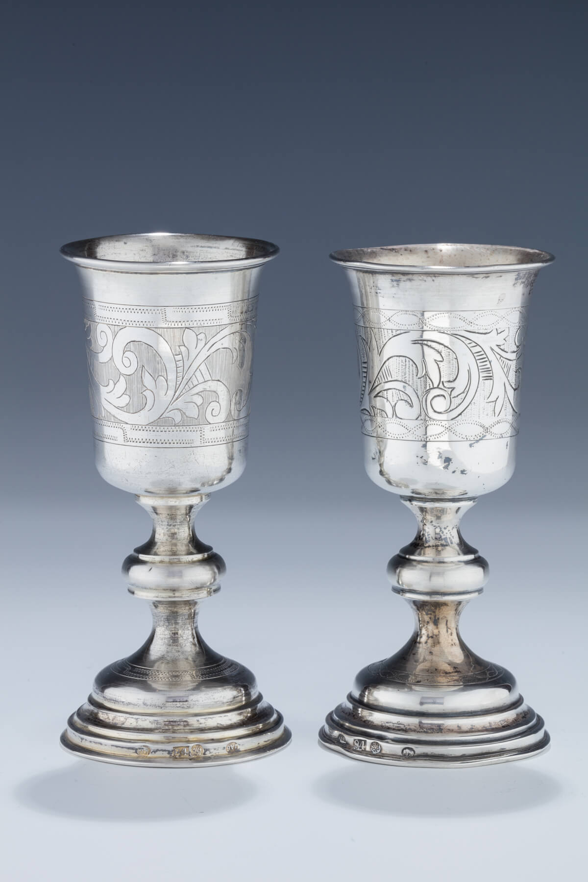 098. A Pair of Silver Kiddush Goblets by Isaac Goldman