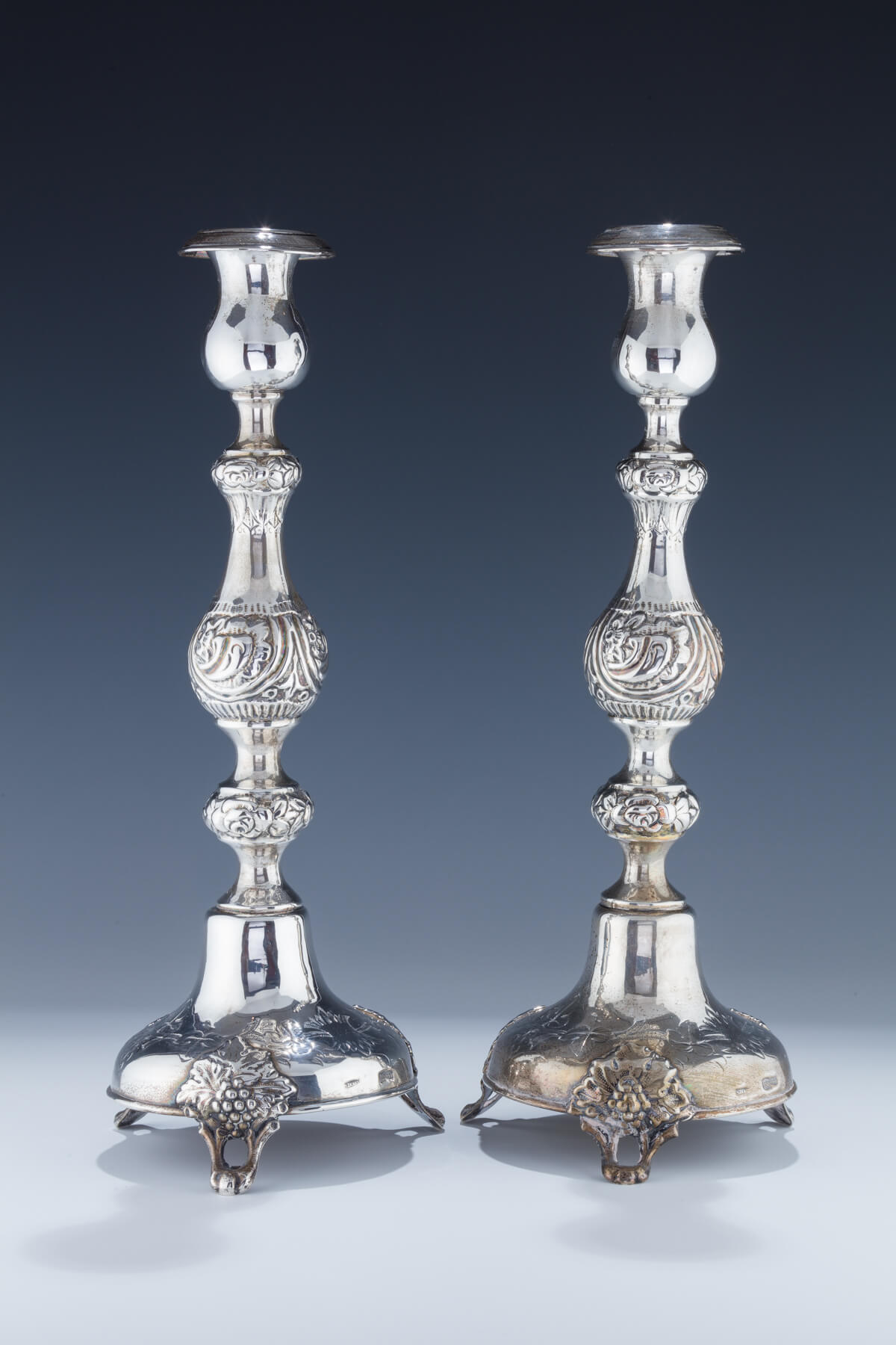 091. A Pair of Silver Sabbath Candlesticks by Shmuel Skarlat