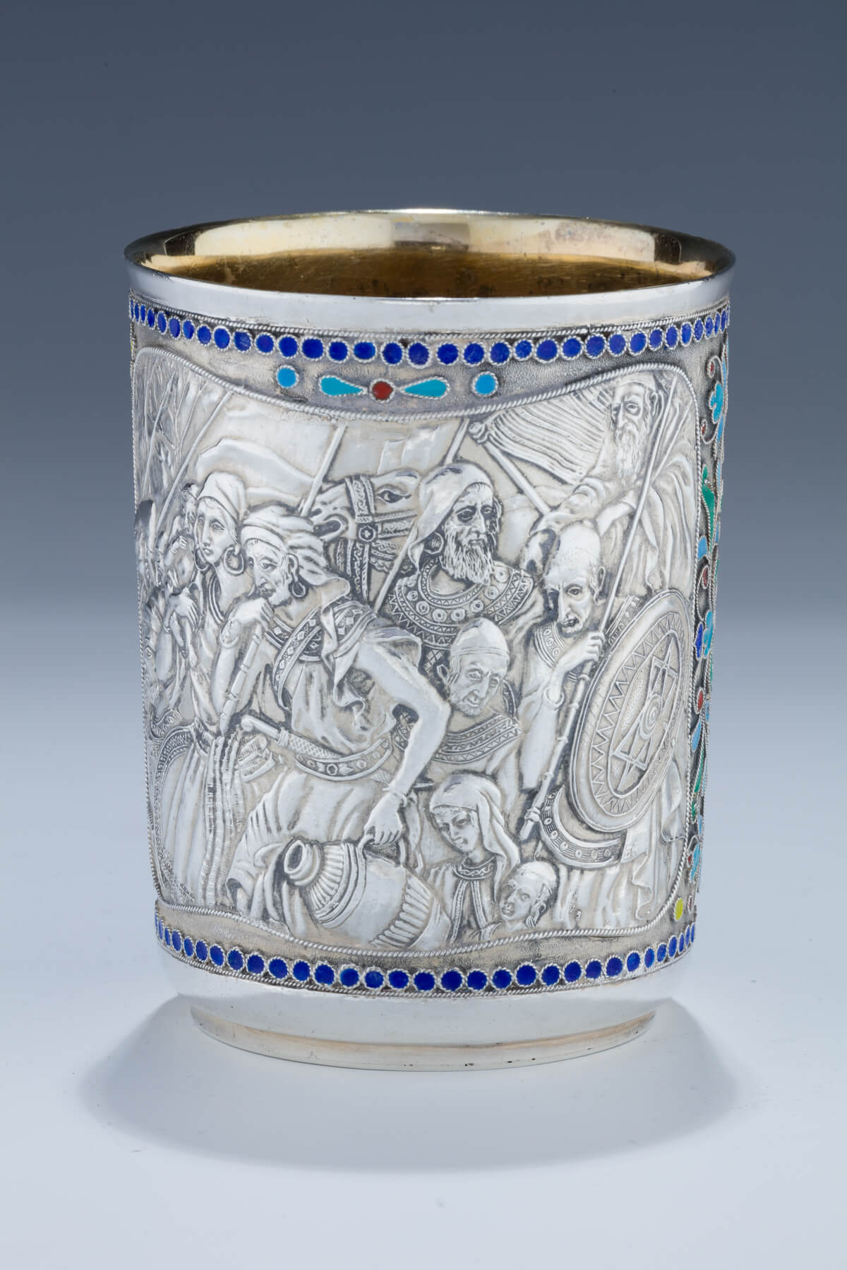 167. A Massive Silver and Enamel Kiddush Beaker by Henryk Winograd