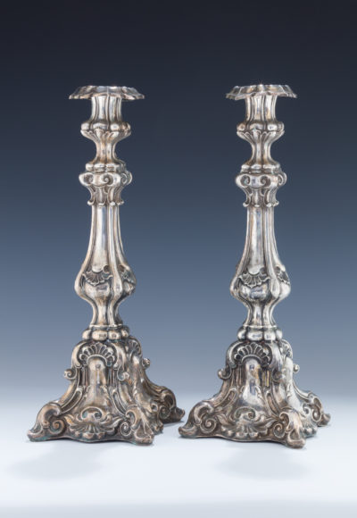 002. A Pair of Very Large Silver Candlesticks