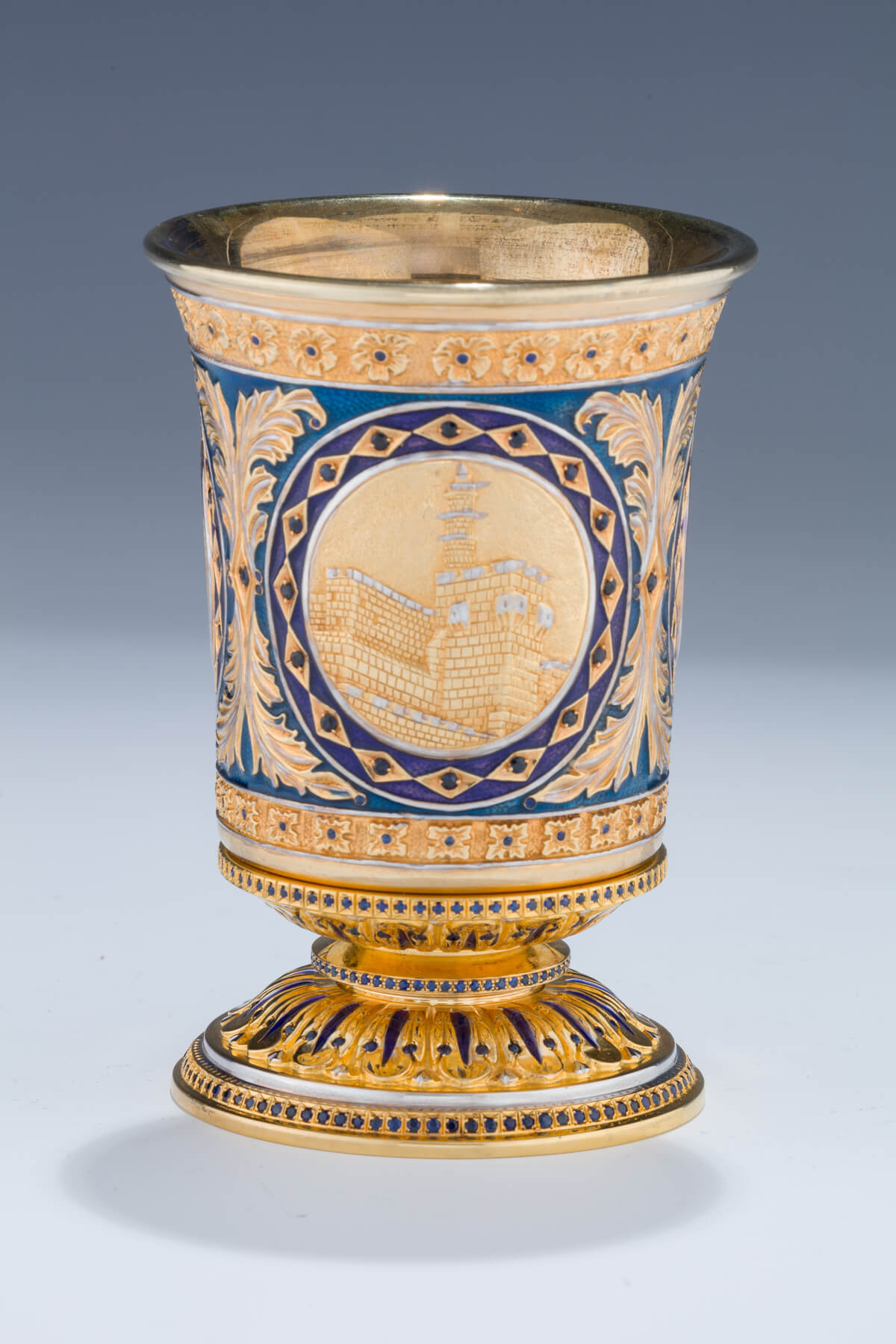 161. A Silver and Enamel Kiddush Goblet by Yaakov Davidoff