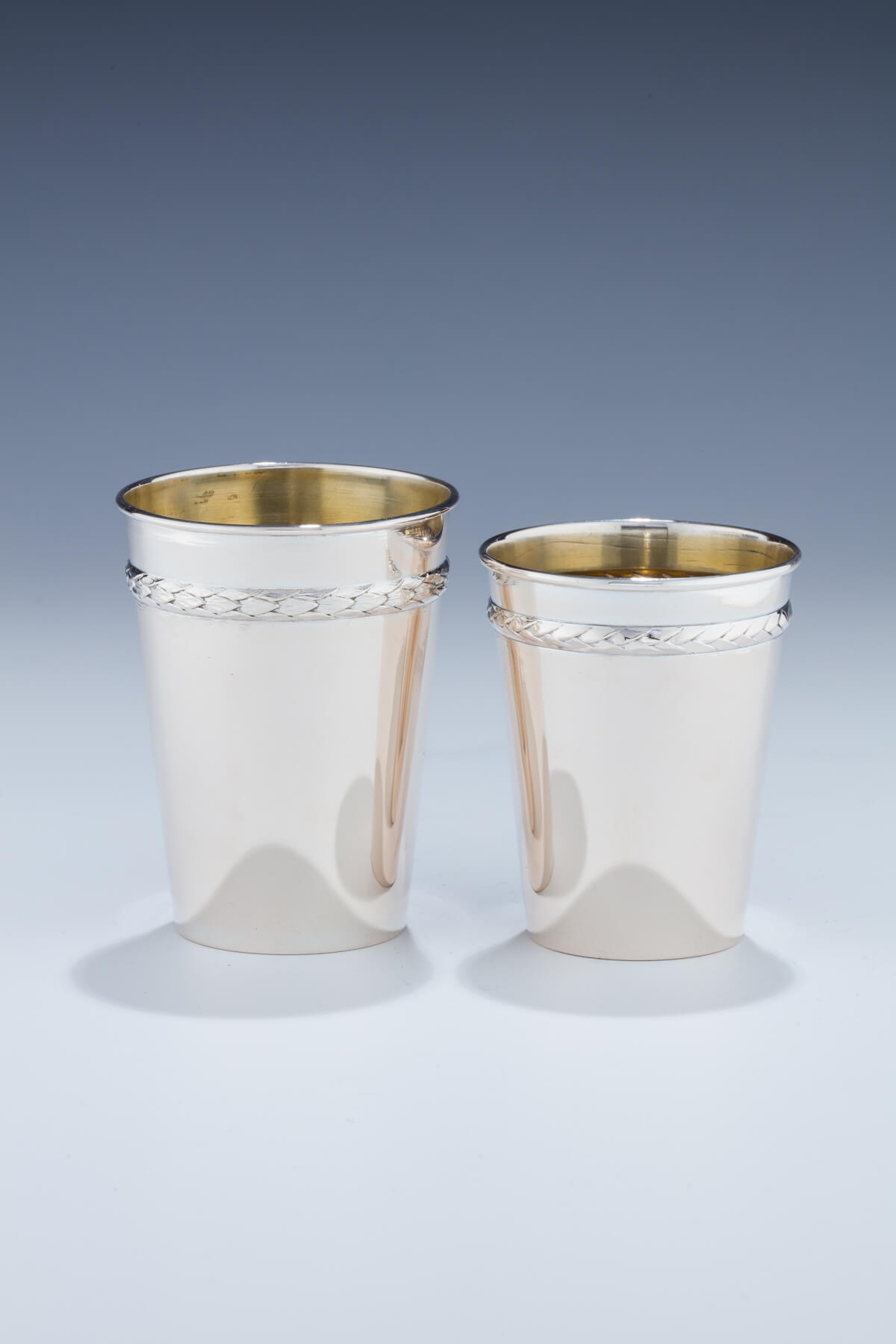092. A Pair of Silver Kiddush Beakers by Lazarus Posen