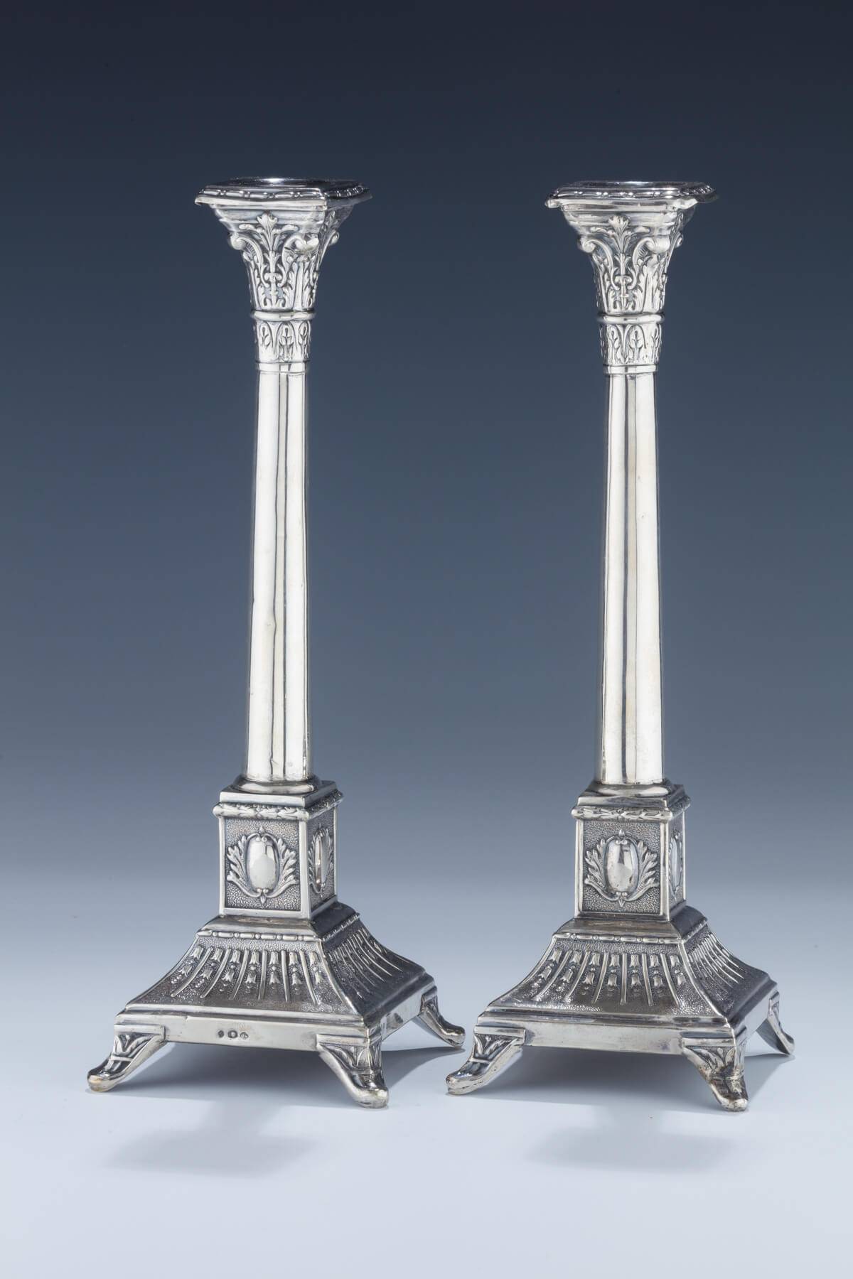 075. A Pair of Silver Candlesticks