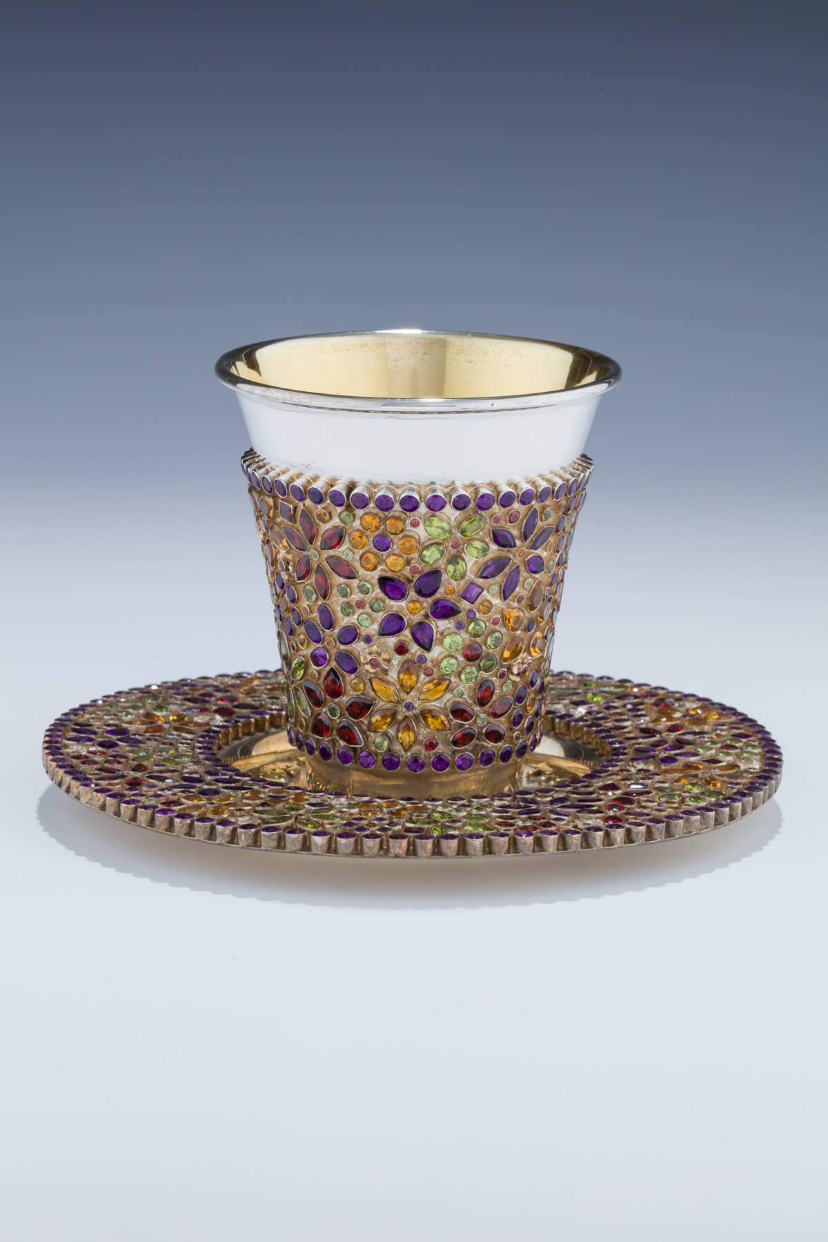 142.  A Gem Encrusted Kiddush Cup and Underplate by Dekel Aviv