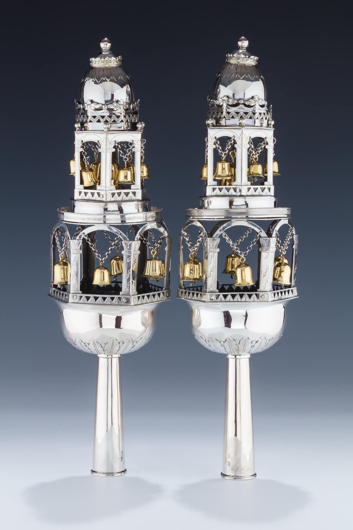 140. An Exceptionally Large Pair of Silver Torah Finials