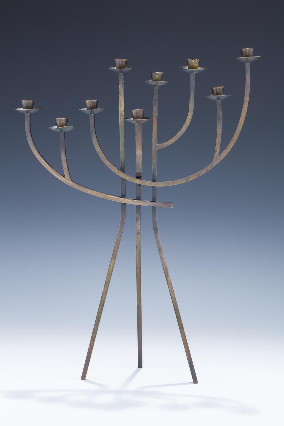 148. A Brass Candelabra/Menorah by Ludwig Wolpert