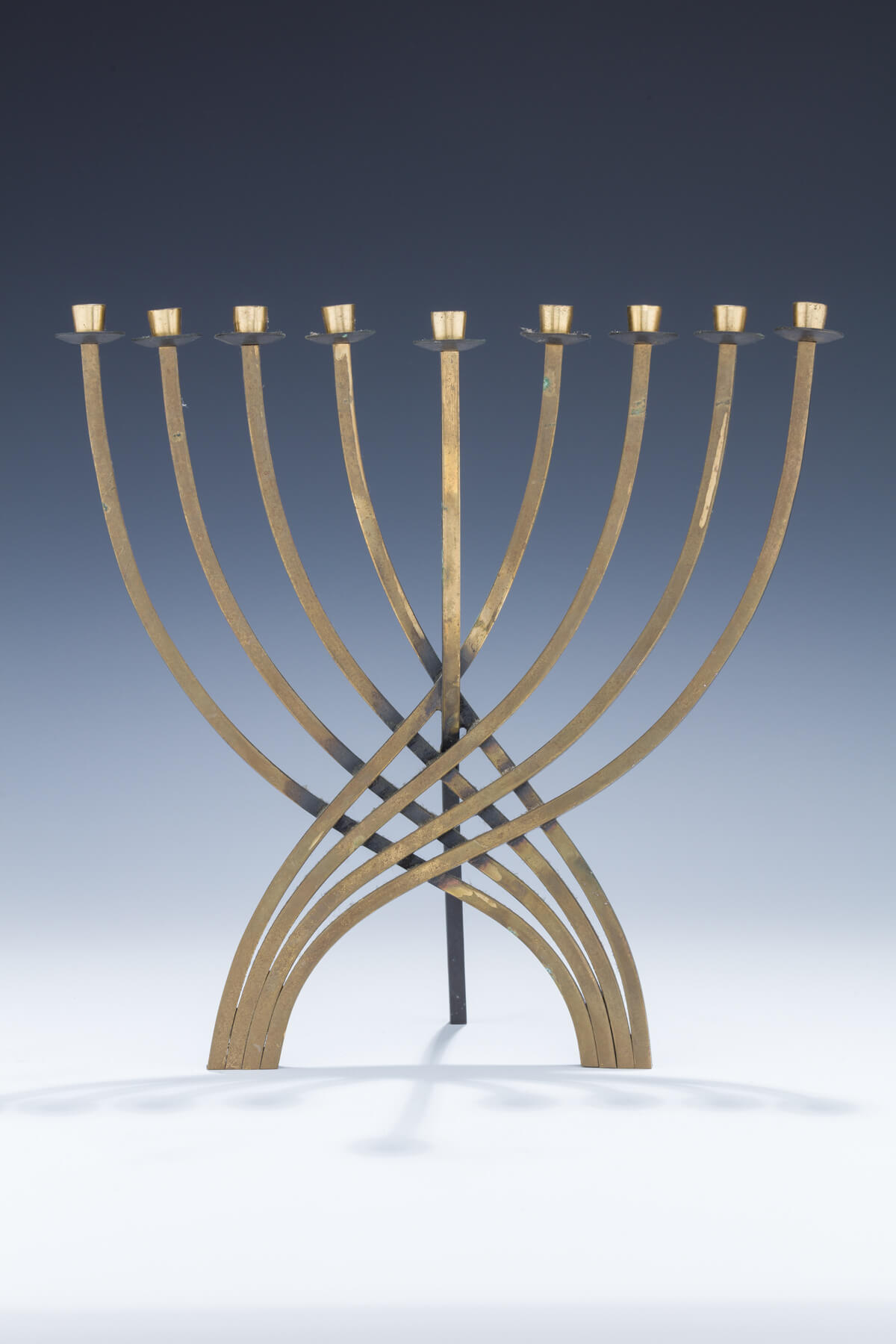 149. A Brass Chanukah Menorah by Ludwig Wolpert