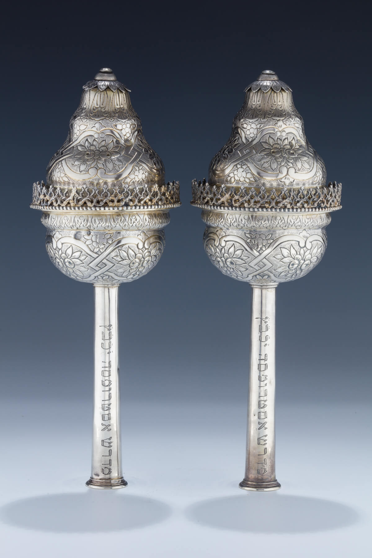 137. A Pair of Very Rare Silver Torah Finials
