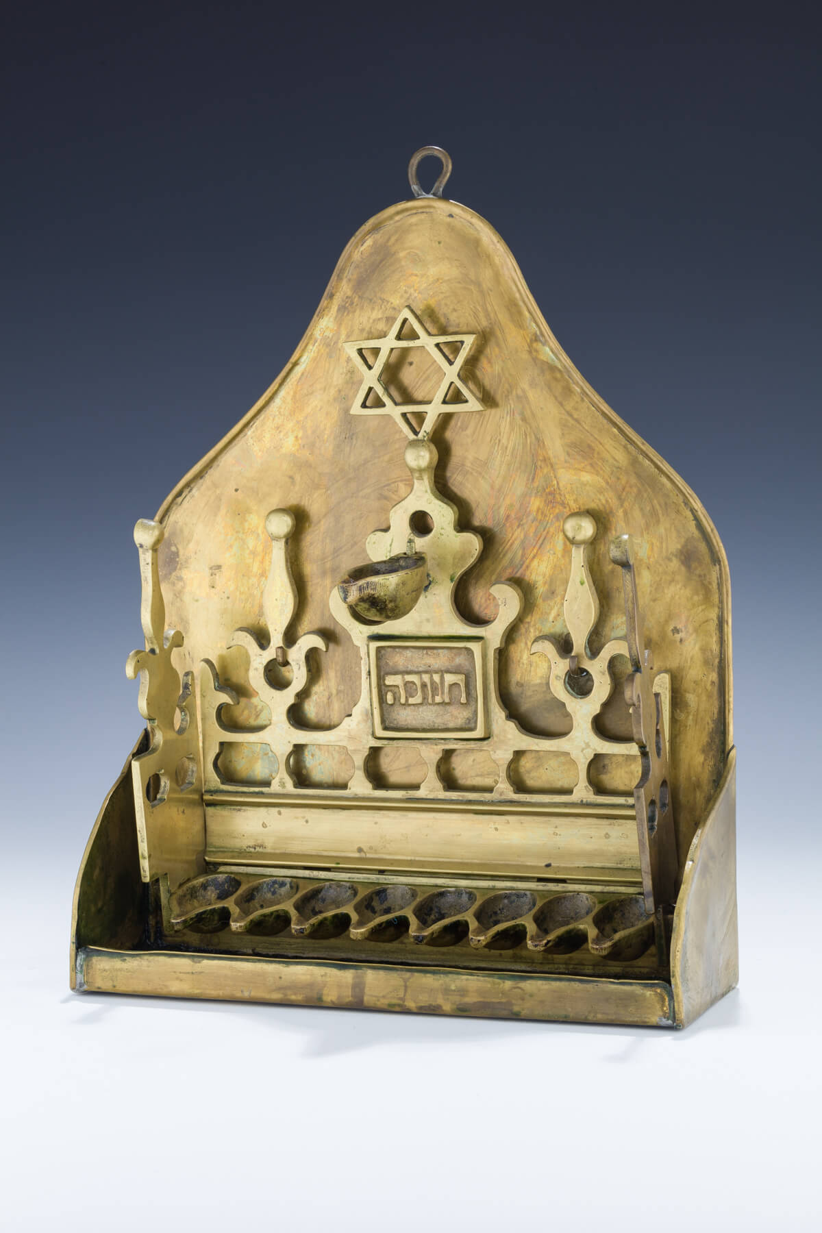 086. A Large Brass Hanukkah Lamp