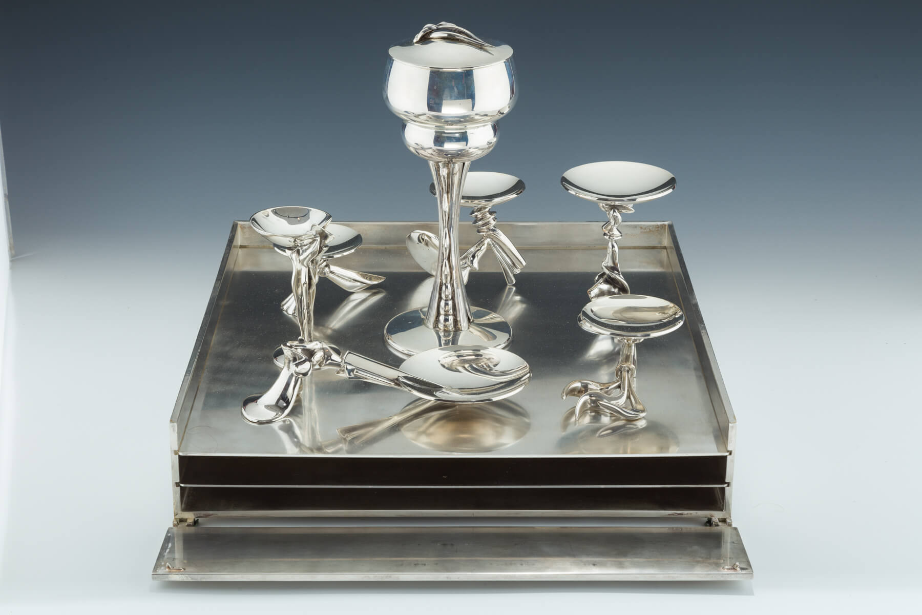 177. A Large Sterling and Marble Seder Set by Richard Fishman
