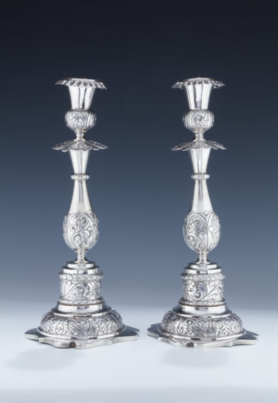 114. A Pair of Large Silver Candlesticks
