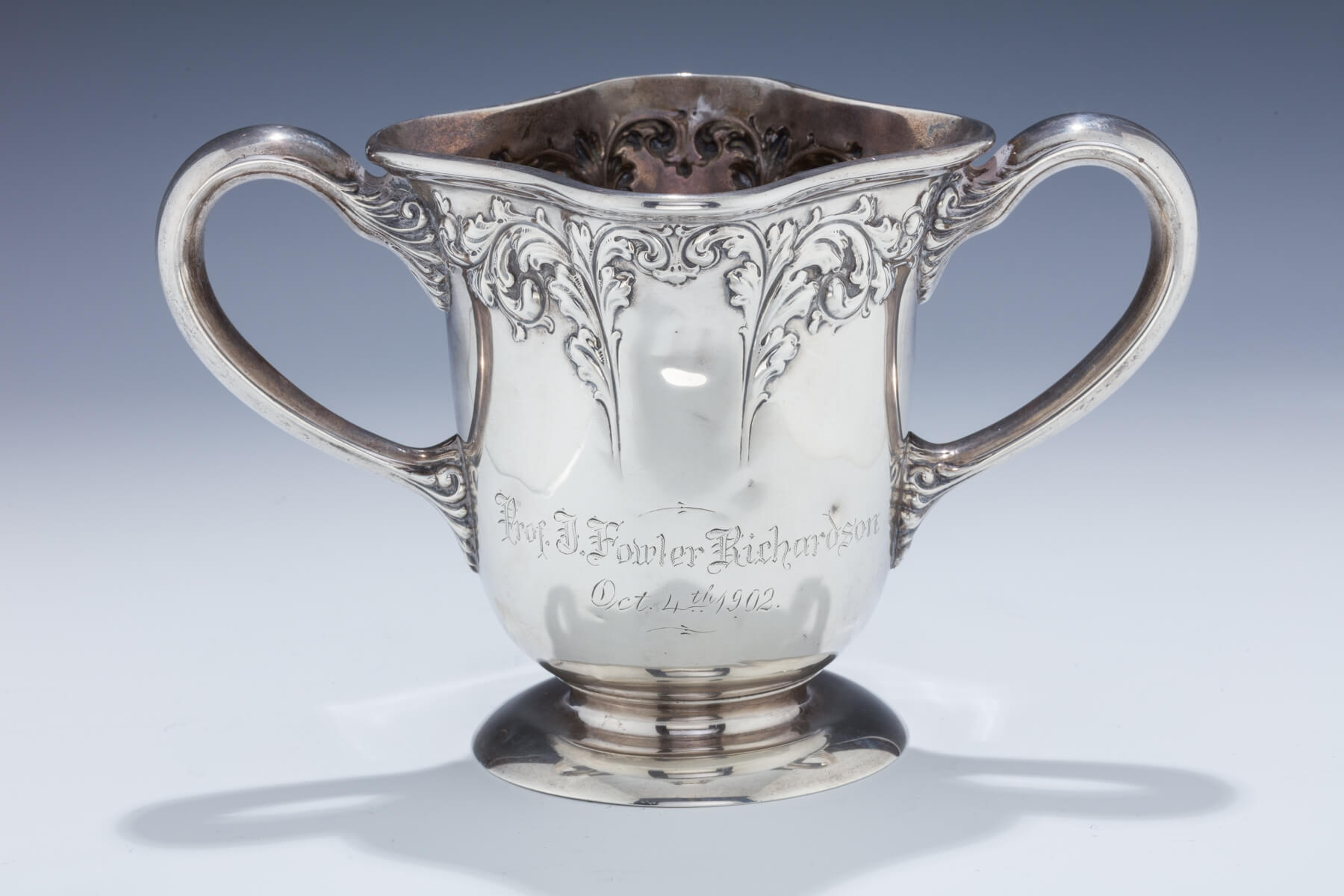 065. An Important Sterling Silver Two Handled Cup Given by the Hebrew Benevolent Congregation of Atlanta