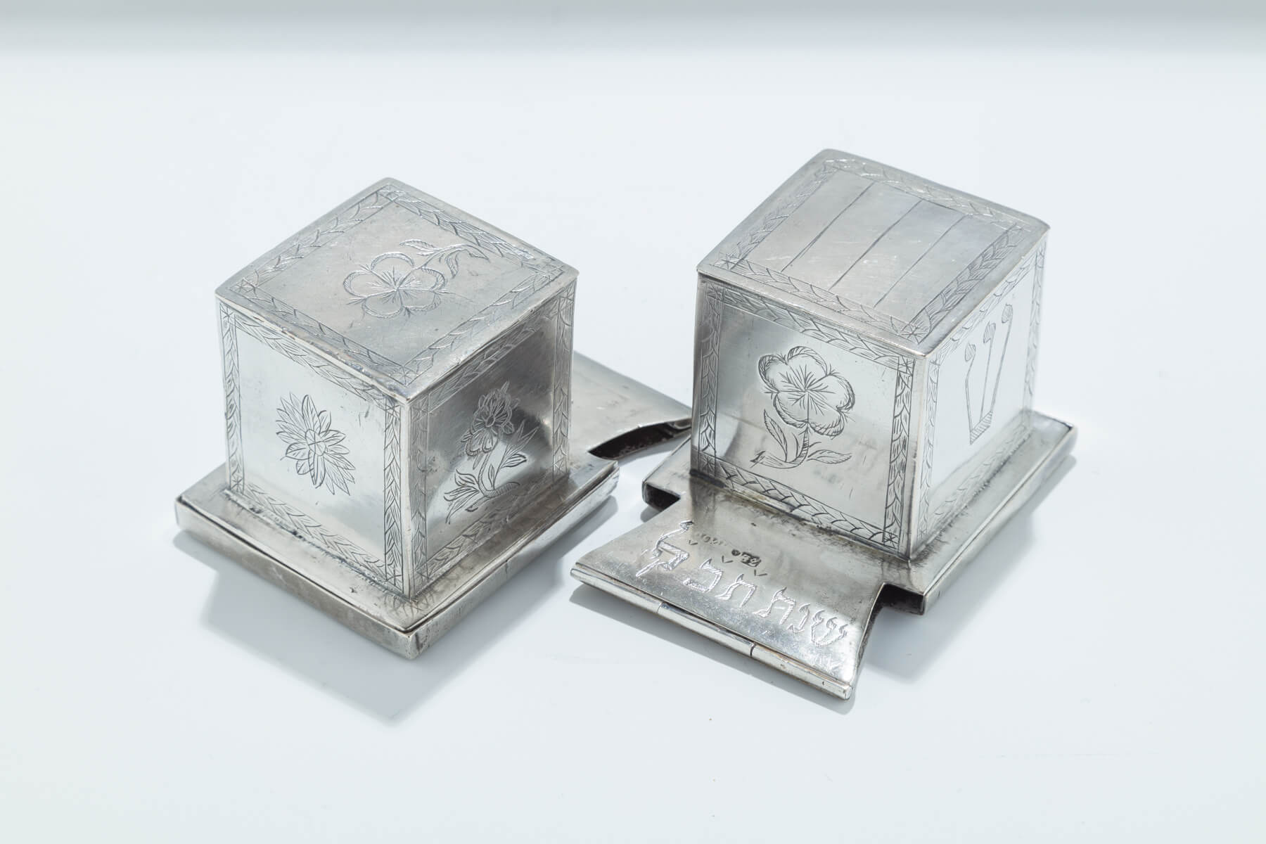129. A Pair of Silver Tefillin Cases