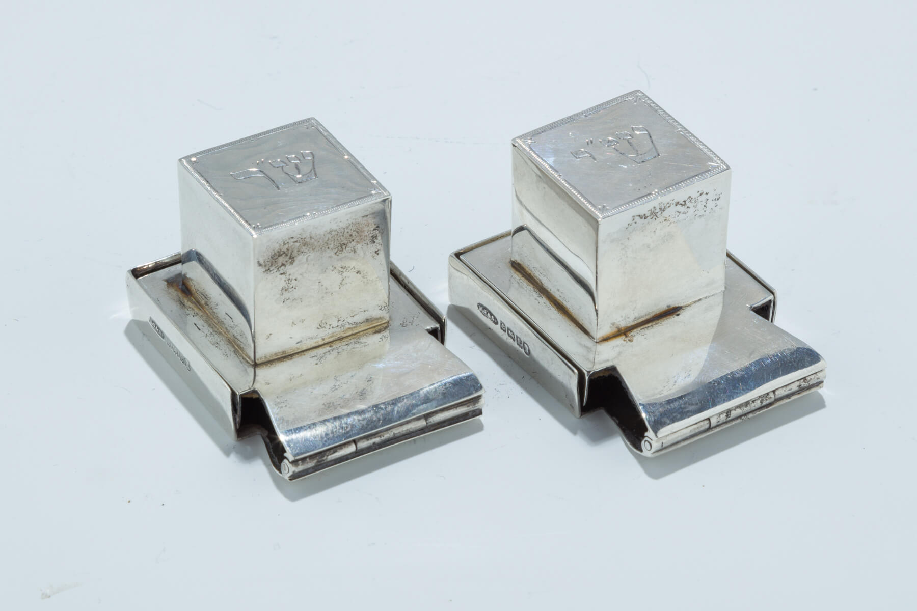 113. A Pair of Sterling Silver Tefillin Boxes by Britton, Gould and Company