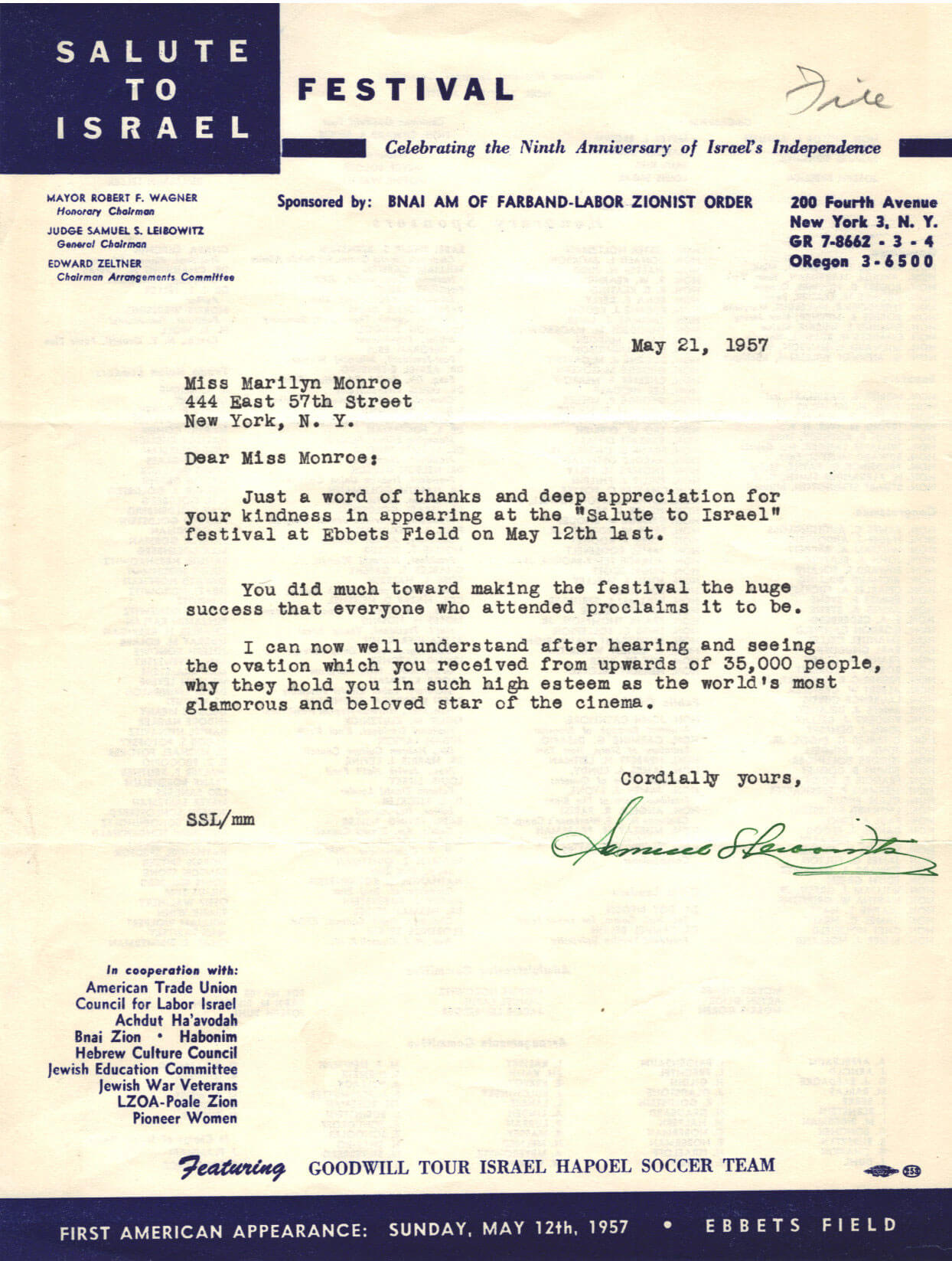 210. A Letter From the Salute to Israel Festival to Marilyn Monroe