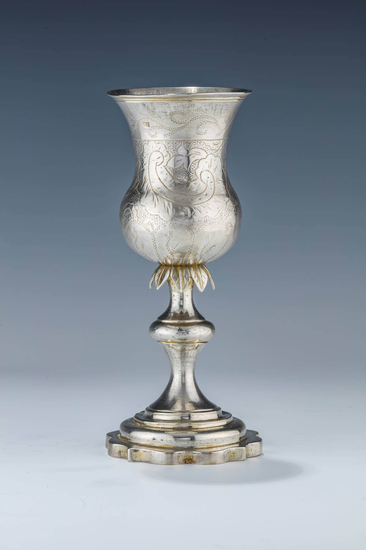 013. A LARGE SILVER KIDDUSH GOBLET