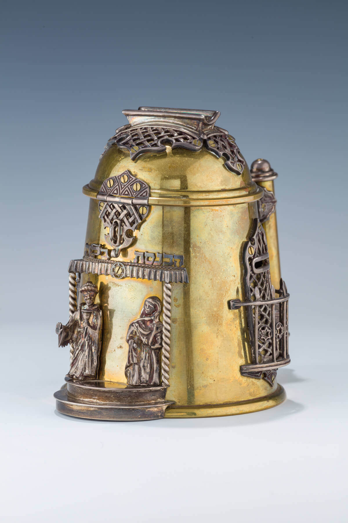154. A STERLING AND BRASS CHARITY CONTAINER BY MICHAEL ENDE