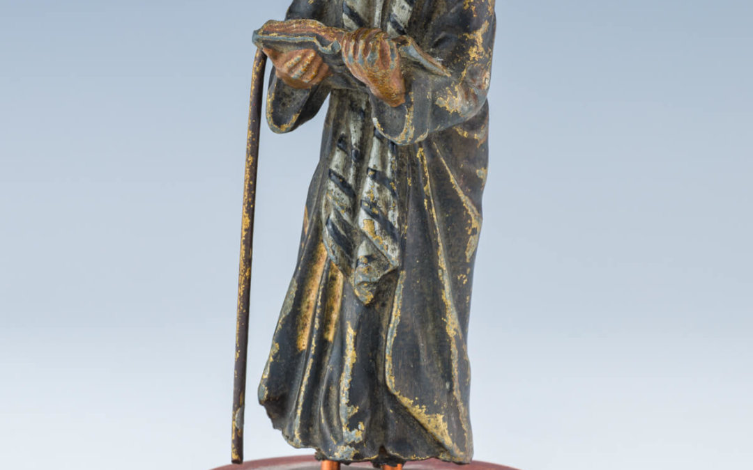 004. A METAL FIGURINE OF A RHIZINER CHASSIDIC MAN
