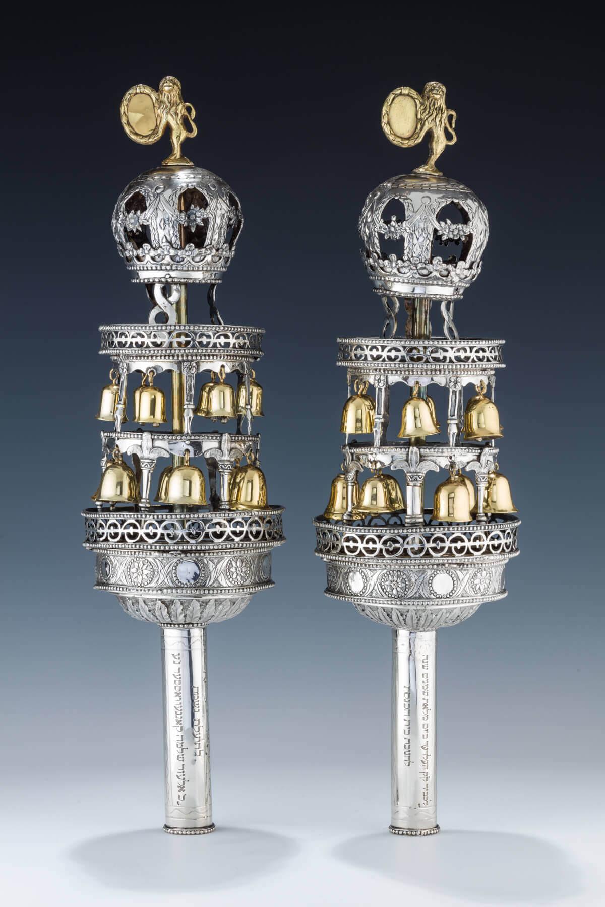 141. AN EXTREMELY RARE PAIR OF SILVER TORAH FINIALS BY CARL BITZEL