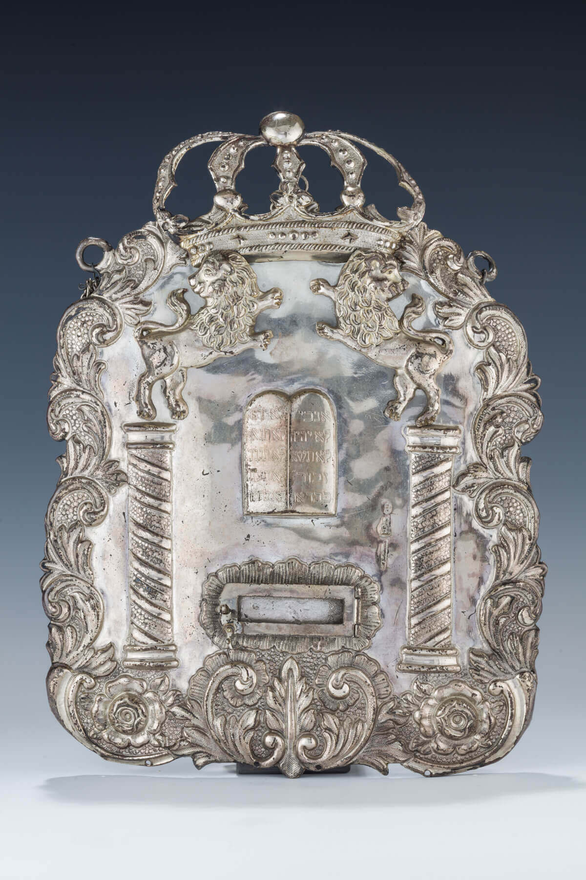 132. A SILVER TORAH SHIELD