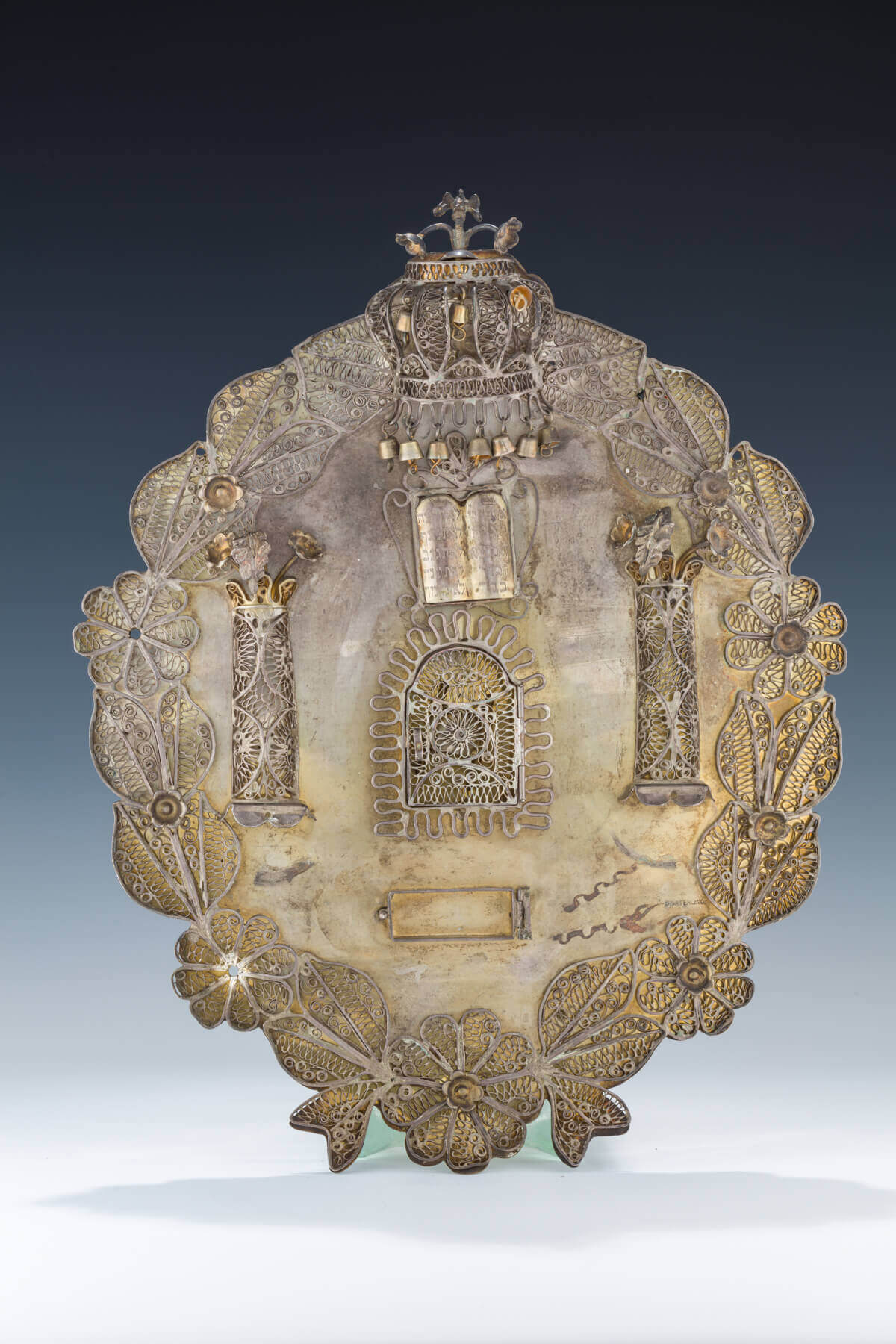 050. A LARGE SILVER TORAH SHIELD