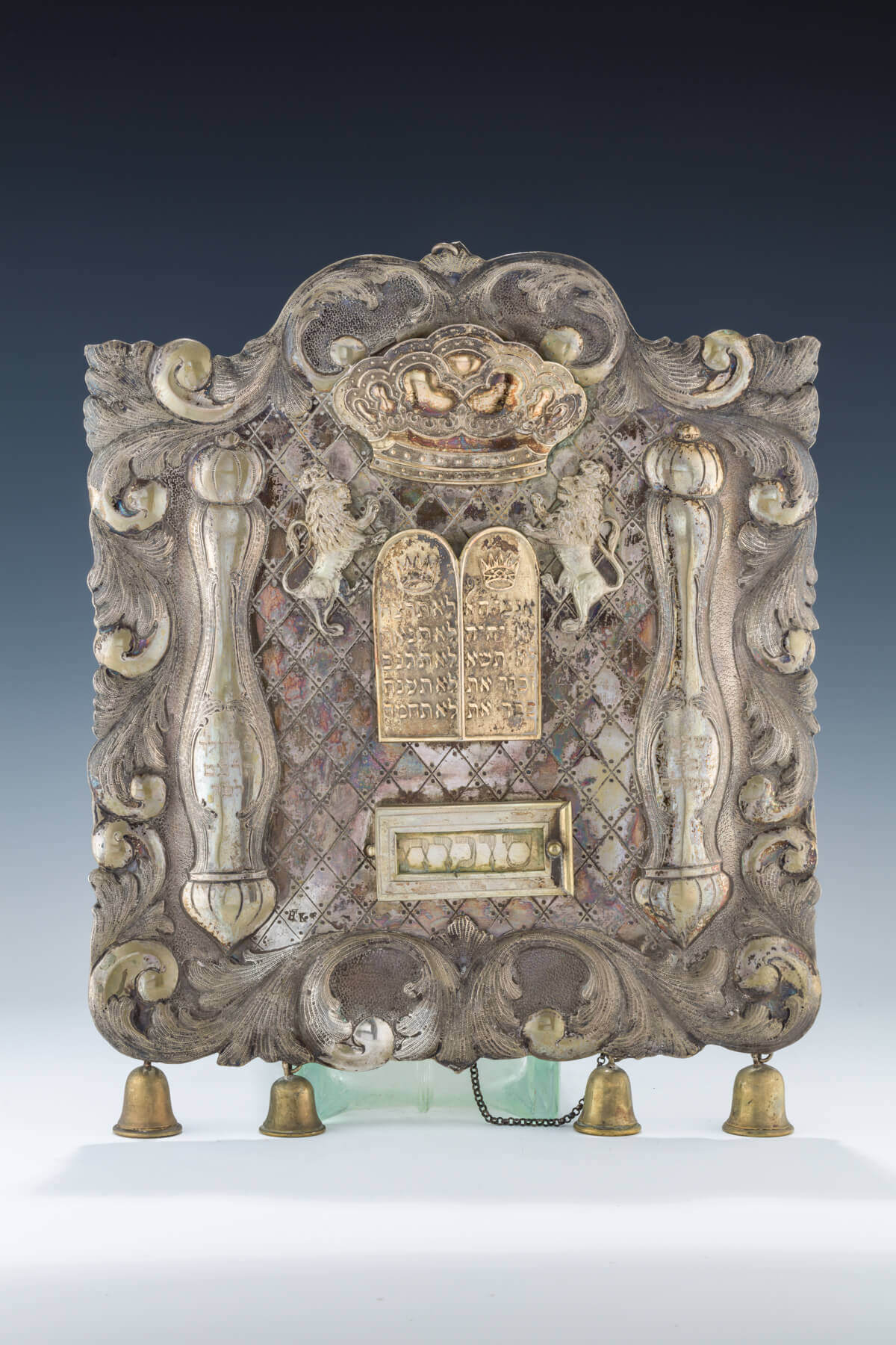 103. A LARGE SILVER TORAH SHIELD
