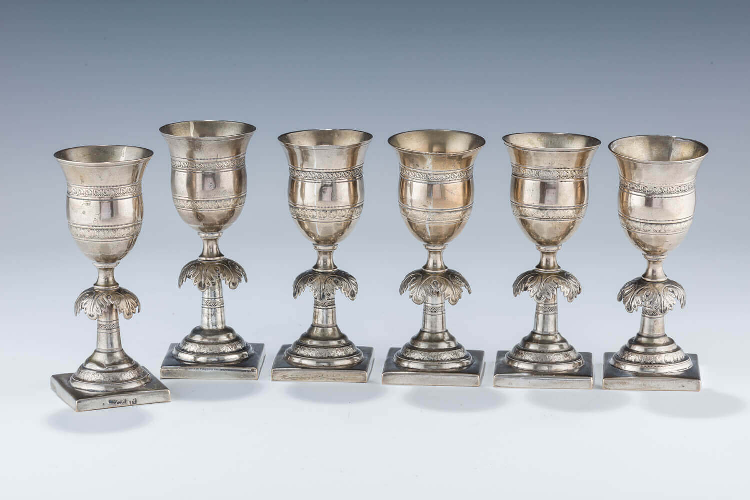 023. A SET OF SIX KIDDUSH GOBLETS