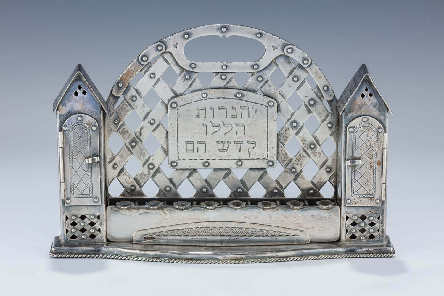 148. A SILVER CHANUKAH LAMP BY SHUKI FREIMAN