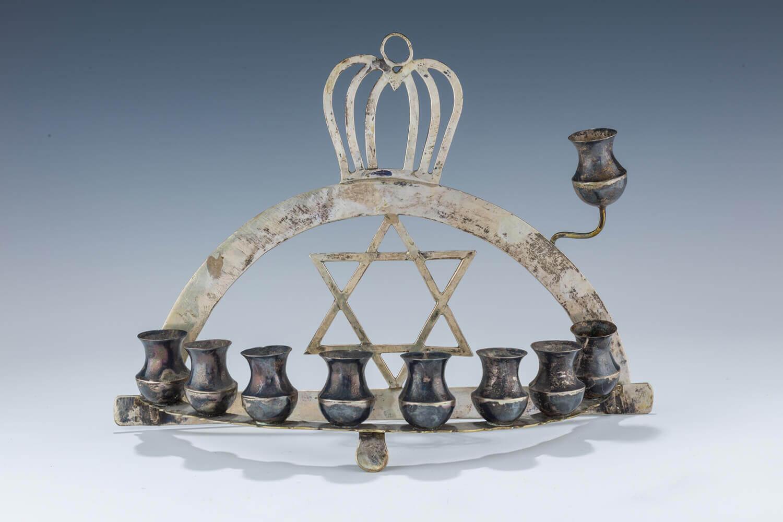 026. A SILVER HANUKKAH LAMP