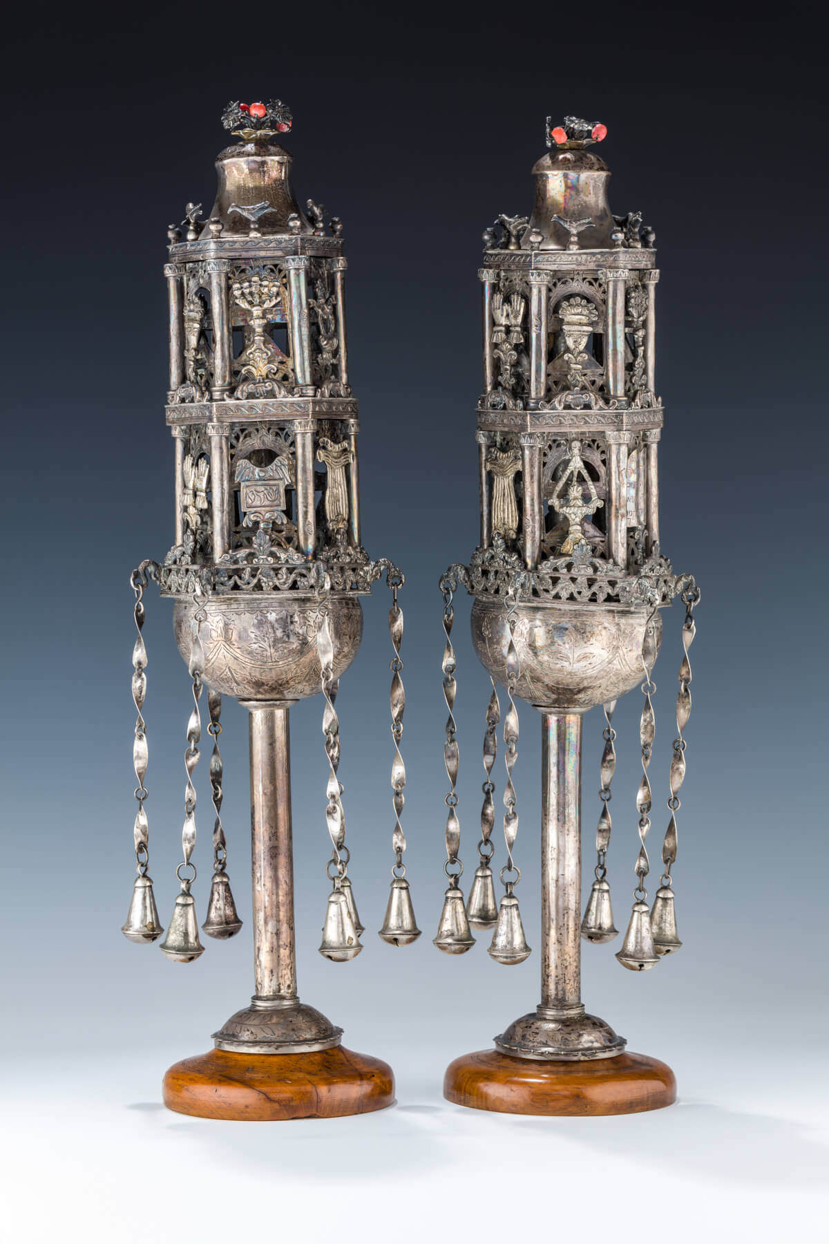 126. A PAIR OF SILVER TORAH FINIALS