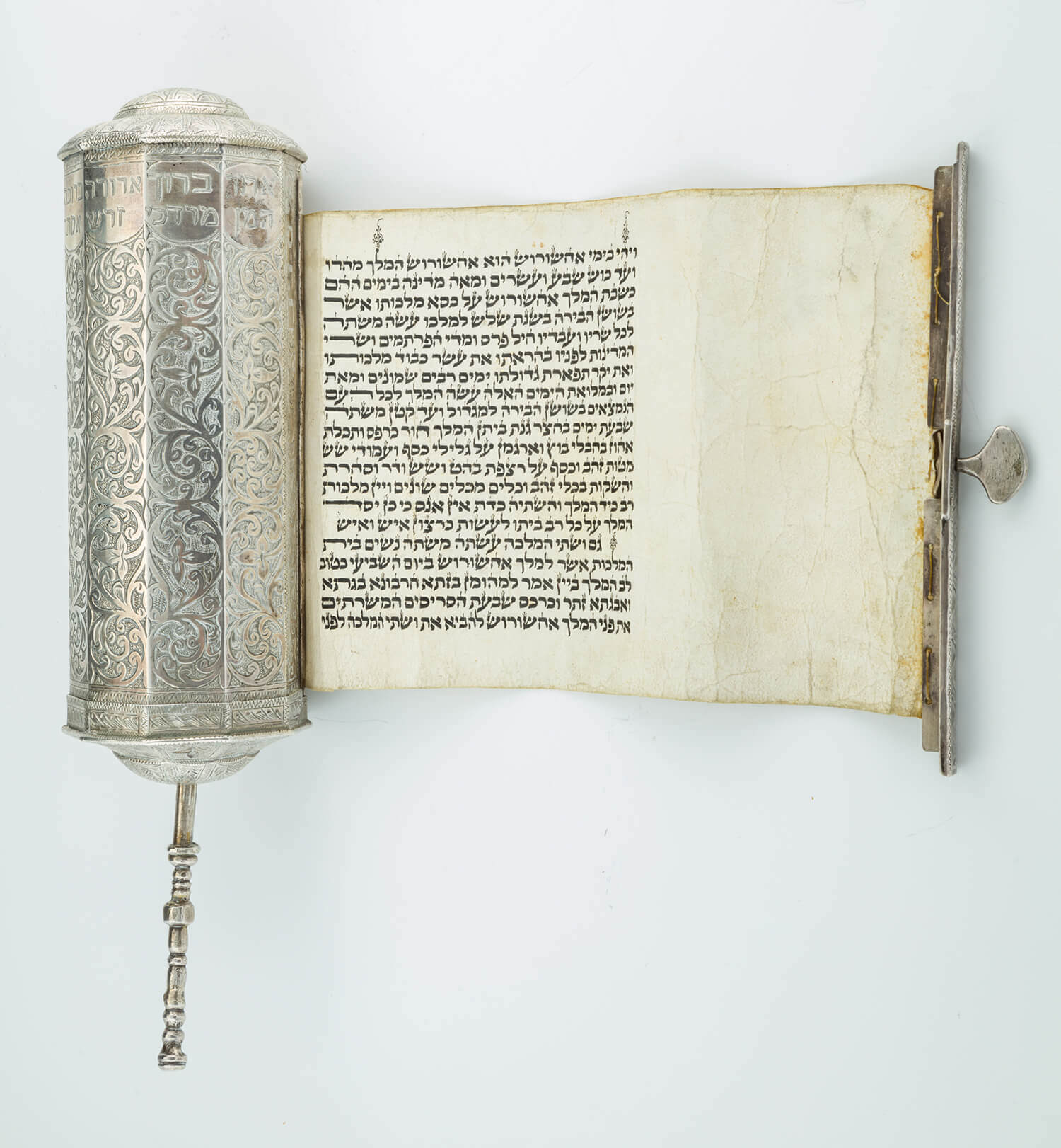 075. A LARGE SILVER MEGILLAH CASE WITH ORIGINAL MEGILLAH