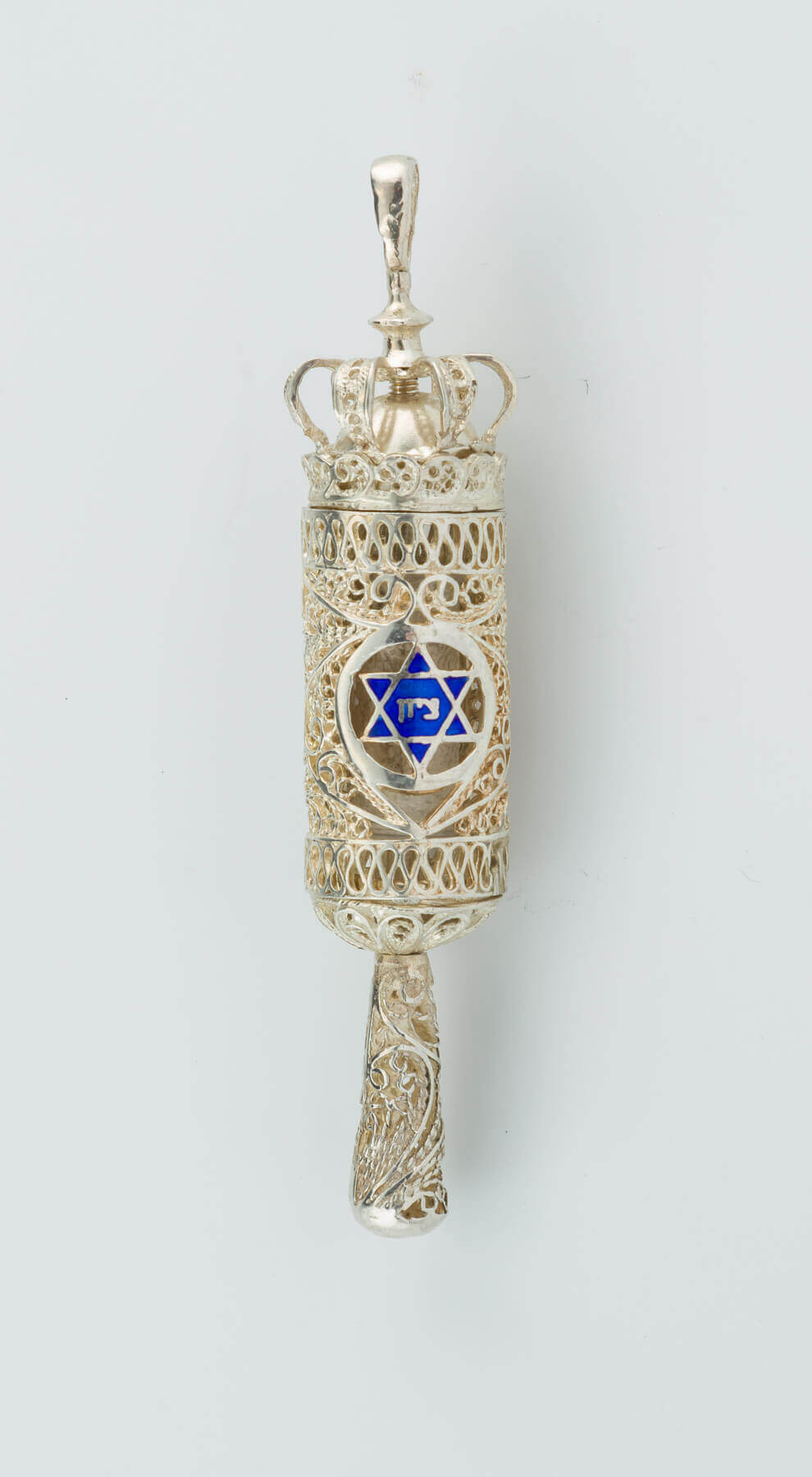 174. A MINIATURE SILVER FILIGREE MEGILLAH CASE