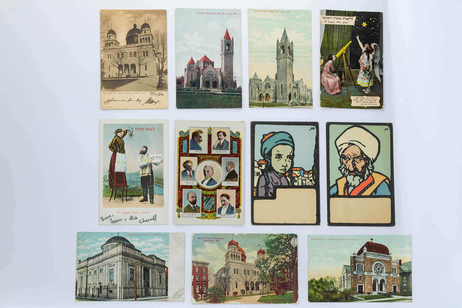 195. A LARGE COLLECTION OF 66 SYNAGOGUE AND JEWISH RELATED POSTCARDS