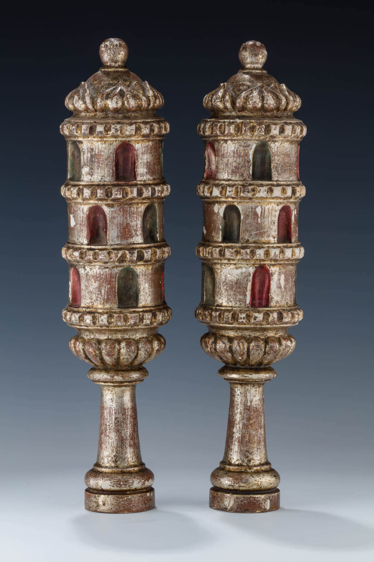 105. A PAIR OF WOODEN TORAH FINIALS
