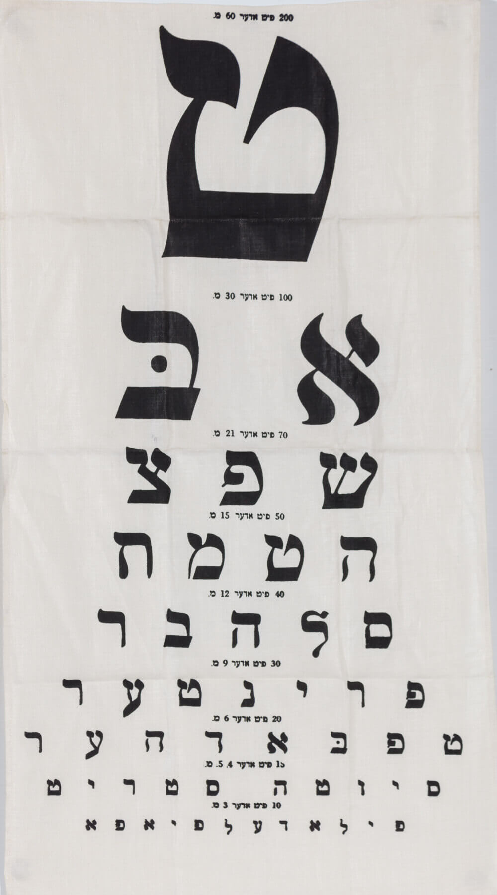 069. A VINTAGE YIDDISH OPTOMETRIST EYE CHART