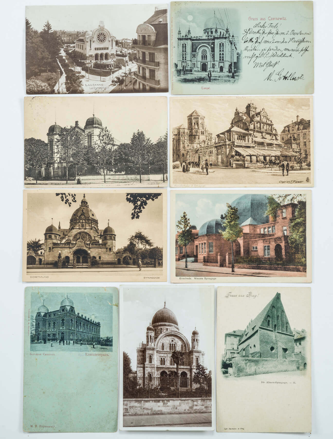 114. A COLLECTION OF 92 WORLD WIDE SYNAGOGUE POSTCARDS