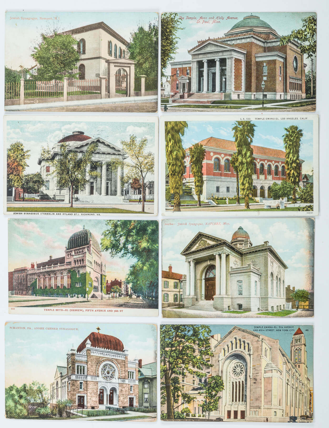 113. A COLLECTION OF 80 AMERICAN SYNAGOGUE POSTCARDS
