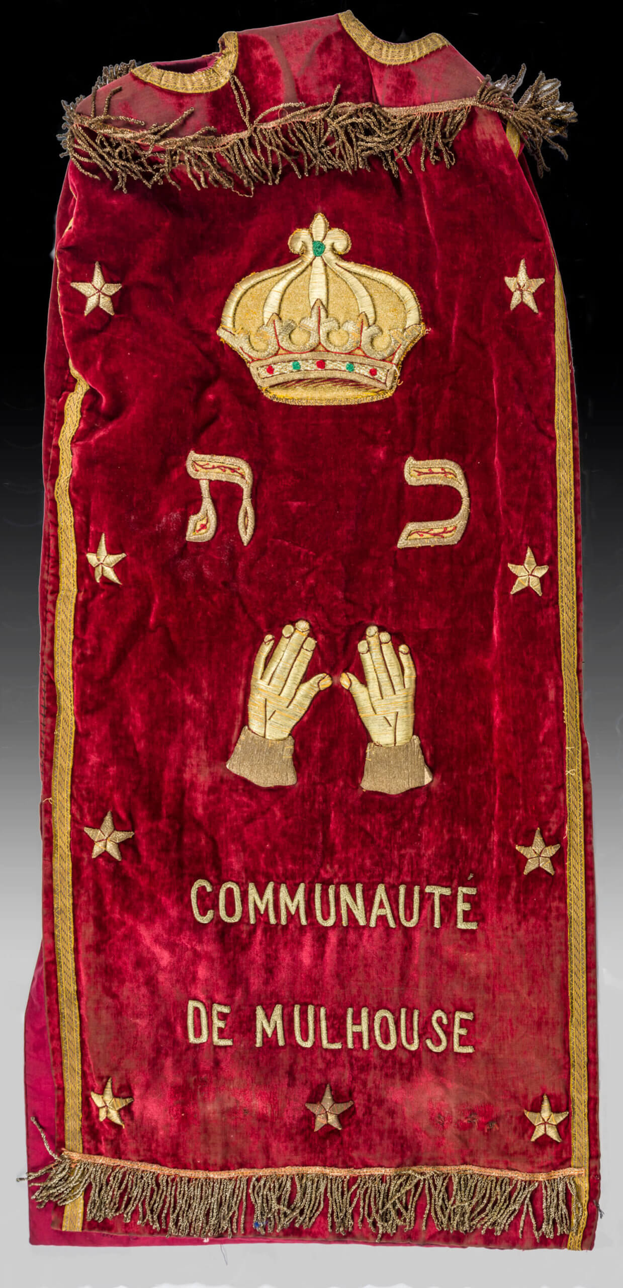 031. A VELVET AND SILVER THREAD TORAH COVER