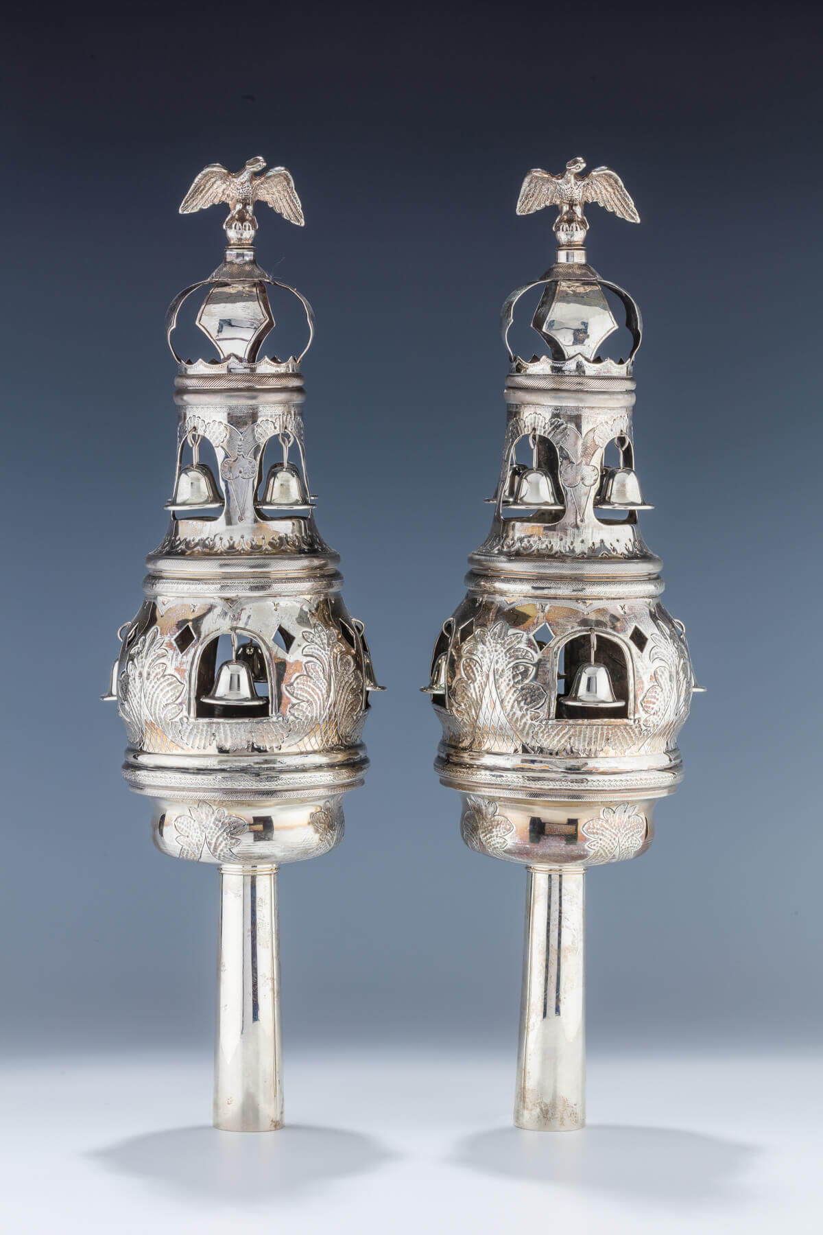 094. A RARE PAIR OF LARGE SILVER TORAH FINIALS