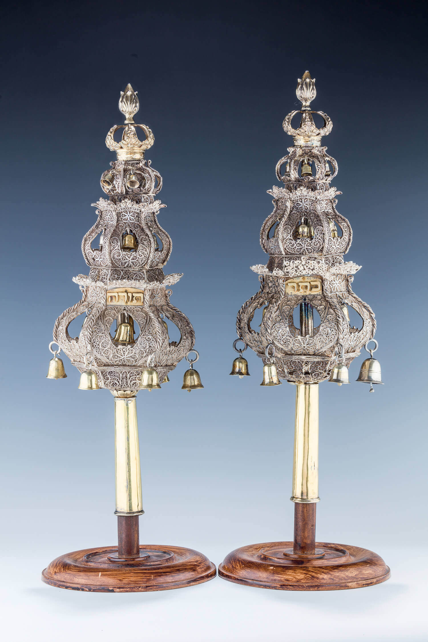 107. A LARGE PAIR OF SILVER FILIGREE TORAH FINIALS